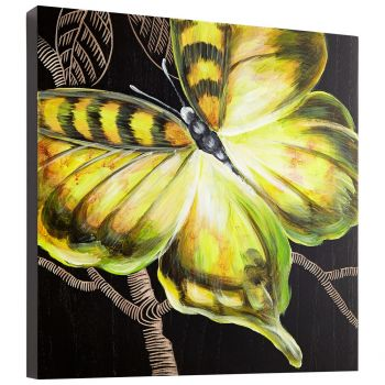 "Cyan Design Monarch 15.75"" Wood Wall Art in Black / Green"