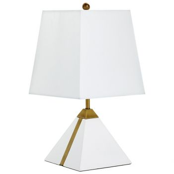 "Cyan Design Giza 19.25"" White Linen Shade Table Lamp in White/Brass"
