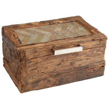 """Cyan Design X Marks The Box 17.75"""" Container in Natural Rustic Pinewood"""
