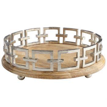 "Cyan Design Renzo 15.25"" Round Tray in Silver"