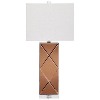 "Cyan Design Sarda 29.75"" Cream Linen Shade Table Lamp in Copper"