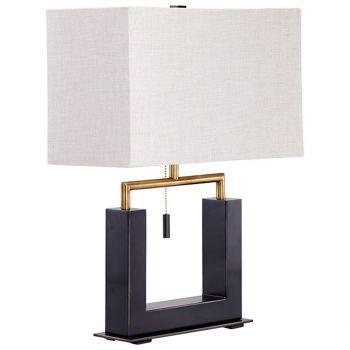 "Cyan Design Aspro 21.75"" Natural Linen Shade Table Lamp in Bronze/Black"