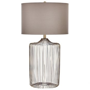 """Cyan Design Whisker 30.75"""" Taupe Cotton Shade Table Lamp in Antique Brass"""