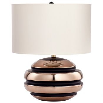 """Cyan Design Patrice 22.5"""" Ivory Faux Silk Shade Table Lamp in Bronze"""