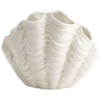 """Cyan Design Michelle My Shell 13.75"""" Plant Stand in White Crackle"""