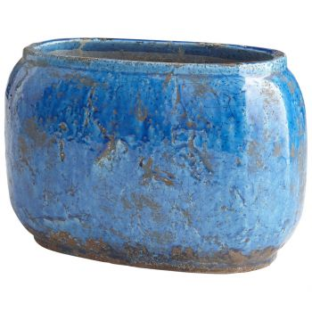 "Cyan Design Ventura 14.5"" Planter in Blue Glaze"
