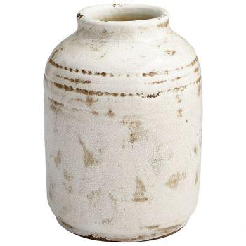 """Cyan Design Aztec 12.5"""" Planter in White Glaze"""