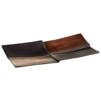 "Cyan Design Patchwork 15.75"" Tray in Bronze"