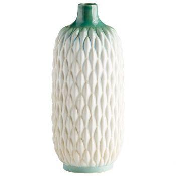 """Cyan Design Verdant Sea 14.5"""" Ceramic Vase in Green/White Glaze"""
