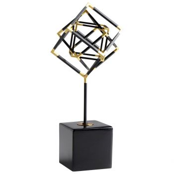 """Cyan Design All the Right Angles 15.5"""" Sculpture in Black/Gold"""