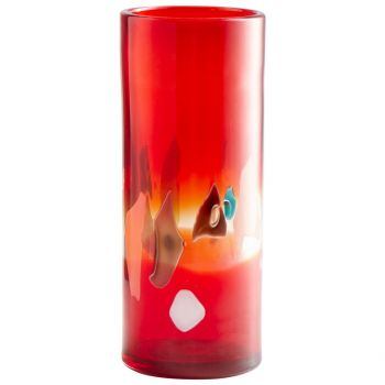 "Cyan Design Carnival 14"" Glass Vase in Red"