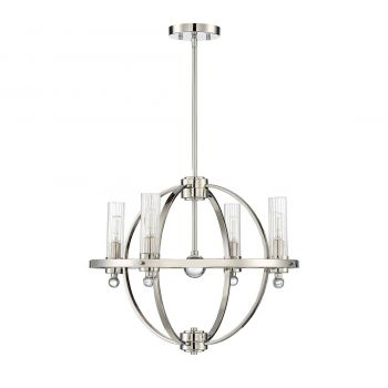 "Savoy House Belfast 21"" 4-Light Chandelier in Polished Nickel"
