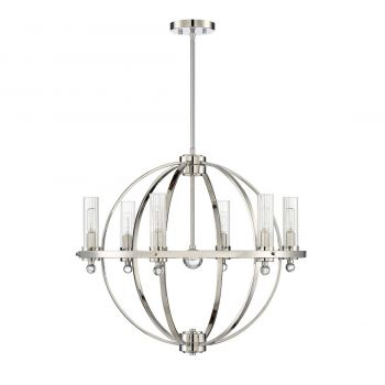 "Savoy House Belfast 26"" 6-Light Chandelier in Polished Nickel"