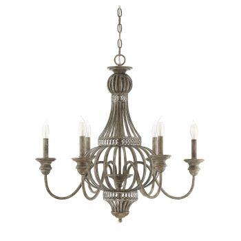 "Savoy House Ashford 28"" 6-Light Chandelier in Aged Wood"