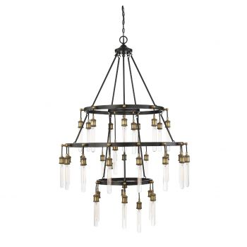 Savoy House Campbell 35-Light Chandelier in Vintage Black/Warm Brass