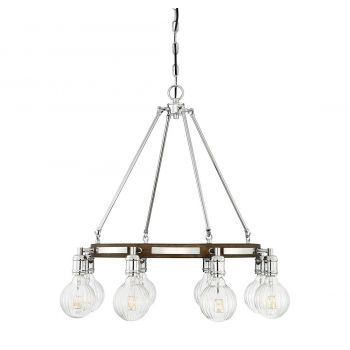 "Savoy House Barfield 25"" 8-Light Chandelier in Polished Nickel/Wood"
