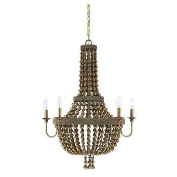 """Savoy House Cranford 28"""" 5-Light Chandelier in Vintage Brass"""