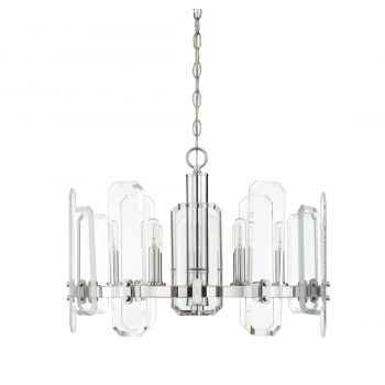 "Savoy House Harrow 24"" 6-Light Chandelier in Polished Chrome"
