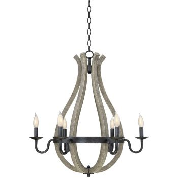 "Savoy House Carrolton 27"" 6-Light Chandelier in Weathered Birch"
