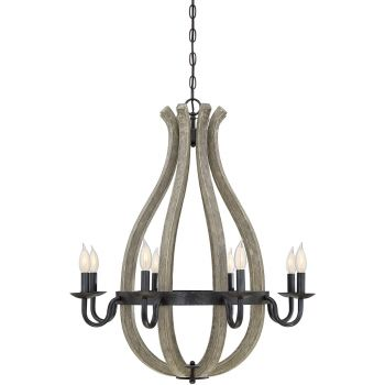 "Savoy House Carrolton 28"" 8-Light Chandelier in Weathered Birch"