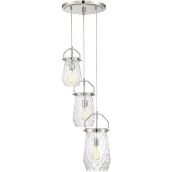 """Savoy House St. Clare 16"""" 3-Light Chandelier in Polished Nickel"""