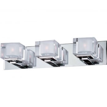 "Maxim Cubic 21.5"" 3-Light Clear Glass Bath Vanity in Polished Chrome"