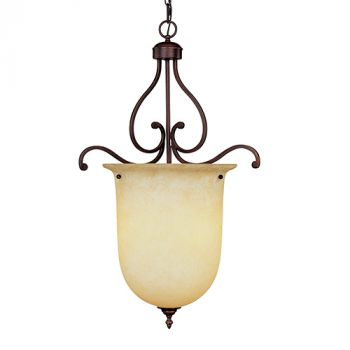 Millennium Lighting Courtney Lakes 3-Light Foyer/Hall Lantern in Rubbed Bronze