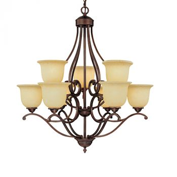 Millennium Lighting Courtney Lakes 9-Light Chandelier in Rubbed Bronze