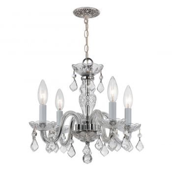 """Crystorama Trad Crystal 15"""" 4-Light Mini Chandelier in Polished Chrome"""