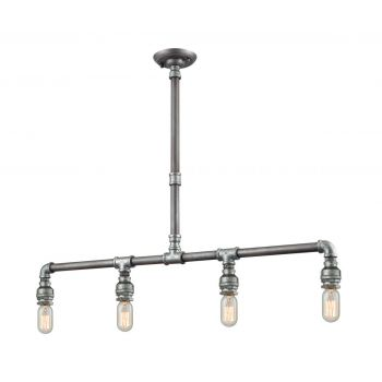 "ELK Cast Iron Pipe 4-Light 2"" Pendant Light in Weathered Zinc And Zinc Plating"