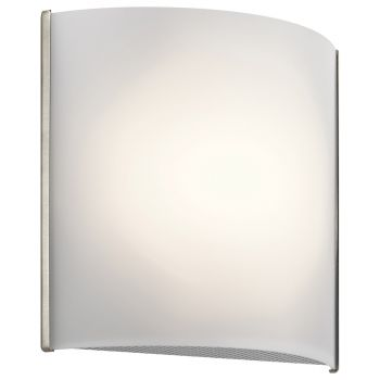 "Kichler 8.25"" White Acrylic LED Wall Sconce in Brushed Nickel"