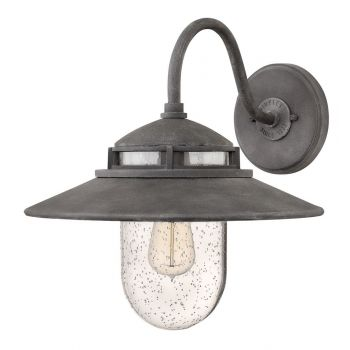 Hinkley Atwell Outdoor Shaded Medium Wall Sconce in Aged Zinc