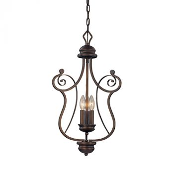 Millennium Lighting Chateau 3-Light Foyer/Hall Lantern in Rubbed Bronze