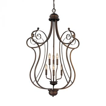 Millennium Lighting Chateau 6-Light Foyer/Hall Lantern in Rubbed Bronze