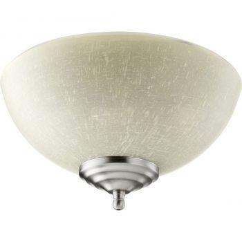 """Quorum Kit 10.75"""" 2-Light LED Ceiling Fan Light Kit in Satin Nickel/White"""