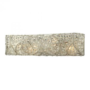"""ELK Andalusia 4-Light 24"""" Bathroom Vanity Light in Aged Silver"""