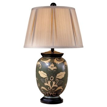 Minka Lavery Ambience Black Paisley Porcelain Table Lamp in Black