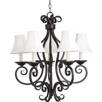 """Maxim Manor 26"""" 5-Light Chandelier w/ Fabric Shades in Oil Rubbed Bronze"""