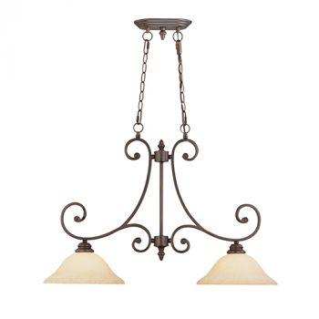 Millennium Lighting Oxford 2-Light Island in Rubbed Bronze