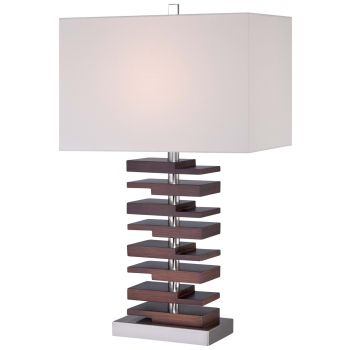 """Minka Lavery Lamps 28.25"""" Off-White Linen Shade Table Lamp in Walnut"""