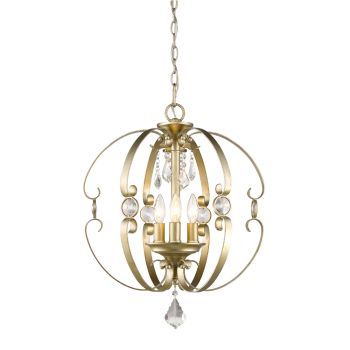 Golden Lighting Ella 3-Light Pendant in White Gold