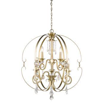 Golden Lighting Ella 2-Tier 9-Light Chandelier in White Gold