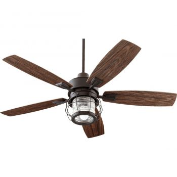 "Quorum Galveston 52"" 5-Blade Patio Fan in Oiled Bronze"