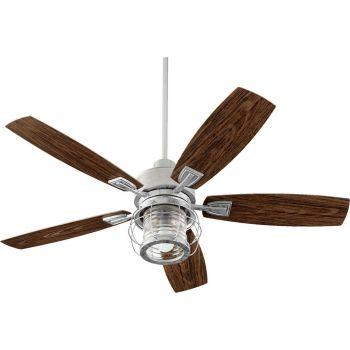 """Quorum International Galveston 52"""" Outdoor Ceiling Fan in Galvanized"""