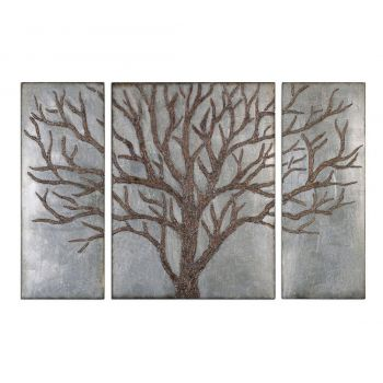 "Uttermost Winter View 60"" Wall Panels in Antique Silver Leaf (Set of 3)"