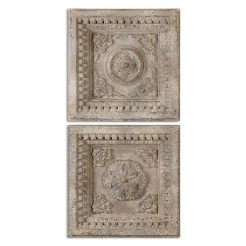 "Uttermost Auronzo 24.5"" Wall Art in Aged White"