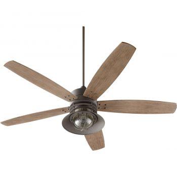 """Quorum Portico 60"""" 5-Blade Patio Fan in Zinc"""