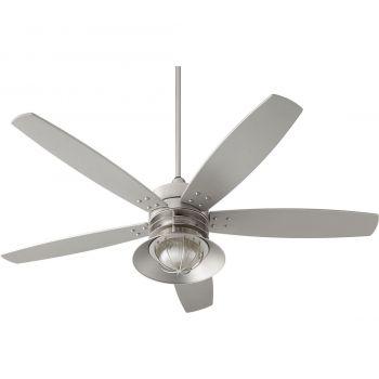 "Quorum International Portico 60"" Outdoor Ceiling Fan in Satin Nickel"