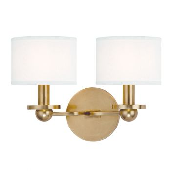 """Hudson Valley Kirkwood 2-Light 12.75"""" Wall Sconce in Brass w/ White Shade"""
