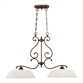 Millennium Lighting Courtney Lakes 2-Light Island in Rubbed Bronze